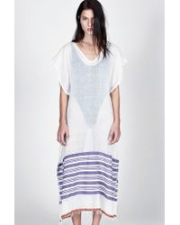 lemlem - White Safara Caftan Poncho - Lyst