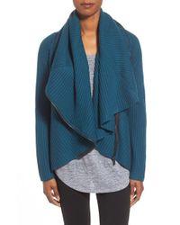 Elie Tahari - Blue 'nikki' Asymmetrical Zip Wool Sweater - Lyst