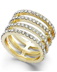 INC International Concepts | Metallic Gold-tone Crystal Multi-row Stretch Ring | Lyst