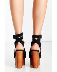 Jeffrey Campbell - Black Ankle Wrap Wood Wedge - Lyst