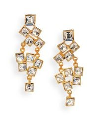 Kenneth Jay Lane | Metallic Square-cut Cluster Chandelier Earrings/clear | Lyst