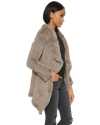 June - Gray Oversized Fur Coat - Ash - Lyst
