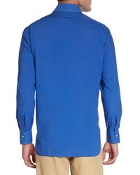 Kiton - Blue Regular-fit Solid Cotton Sportshirt for Men - Lyst
