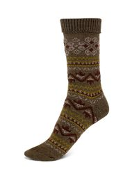 Hue | Green Fairisle Boot Socks | Lyst