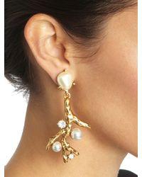 Oscar de la Renta - Metallic Coral Earrings - Lyst