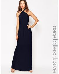 ASOS - Blue Tall Wedding Plunge Wrap Maxi Dress With Tie Waist - Lyst