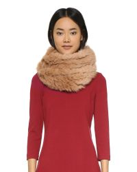 Diane von Furstenberg | Natural Fur Cable Knit Scarf - Camel | Lyst