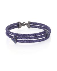 Stinghd | Blue Sapphire, Blackened Silver & Stingray Triangle Wrap Bracelet for Men | Lyst