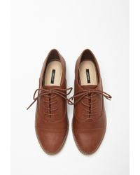 Forever 21 - Brown Classic Faux Leather Oxfords You've Been Added To The Waitlist - Lyst