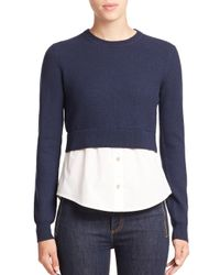 Marc By Marc Jacobs | Blue Superfelt Wool & Stretch-cotton Combo Top | Lyst