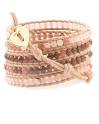 Chan Luu - Metallic Pink Mix Wrap Bracelet With Rose Gold On Beige Leather - Lyst