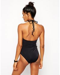ASOS | Black Keyhole Cut Out Swimsuit | Lyst
