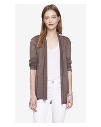Express - Brown Mixed Stitch Ribbed Inset Cover-Up - Lyst