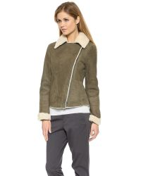 Vince - Green Asymmetrical Shearling Jacket - Off White/Olive - Lyst