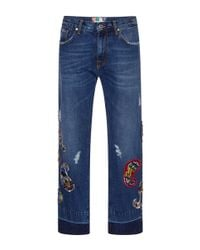 MSGM | Blue Embroidered Boyfriend Jeans | Lyst