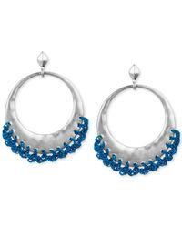 The Sak | Metallic Silver-tone Blue Crochet-edged Hoop Earrings | Lyst