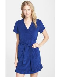 Betsey Johnson | Blue 'vintage' Ruffle Trim Terry Robe | Lyst