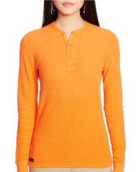 Polo Ralph Lauren - Orange Textured Henley Shirt - Lyst
