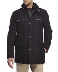 Cole Haan - Black Wool-Blend Coat With Bib for Men - Lyst