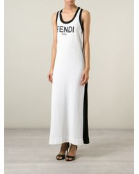 Fendi - Black Long Logo Tank Dress - Lyst