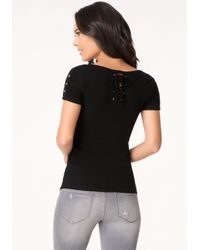 Bebe - Black Logo Back Lace Up Top - Lyst