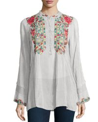 Johnny Was | White Eleanor Embroidered Tunic | Lyst