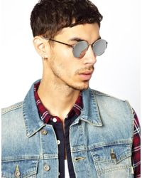 ASOS | Gray Metal Round Sunglasses with Mirror Lens for Men | Lyst