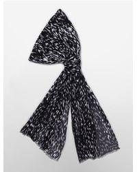 Calvin Klein - Black White Label Brushstroke Print Lightweight Scarf - Lyst