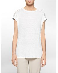 Calvin Klein - White Label Eyelet Shoulder Detail Slub Short Sleeve Top - Lyst