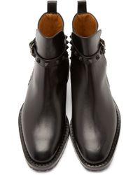 Valentino | Black Rockstud Leather Chelsea Boot for Men | Lyst