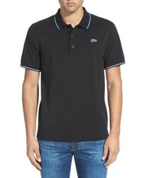Lacoste | Black Logo-Embroidered Cotton Polo Shirt for Men | Lyst