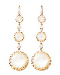 Ivanka Trump | Metallic Long Rose Gold Mother-of-pearl Drop Earrings With Diamonds | Lyst