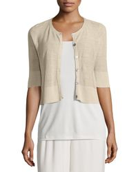 Eileen Fisher - Natural Half-sleeve Button-front Short Cardigan - Lyst