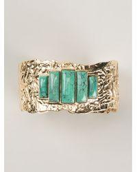 Aurelie Bidermann - Green Stone Embellished Bracelet - Lyst