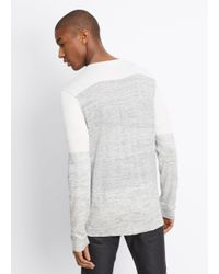 VINCE | Gray Sporty Jaspé Colorblock Long Sleeve Henley for Men | Lyst