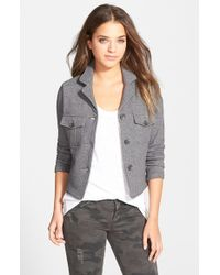 James Perse | Gray Military Fleece Jacket | Lyst