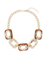Mikey | Brown Enamel Square Crystal Links Necklace | Lyst