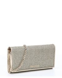 Jimmy Choo - Metallic Light Bronze Glitter Fabric And Leather 'nikita' Convertible Continental Wallet - Lyst