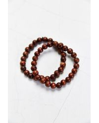 Urban Outfitters - Double Brown Beaded Bracelet for Men - Lyst