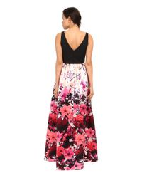 Adrianna Papell - Multicolor Sleeveless Floral Dress - Lyst