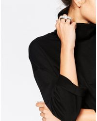 Cheap Monday | White Faux Pearl Double Ring | Lyst