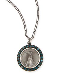 Katie Design Jewelry | Metallic Modern Mary Charm Necklace With Blue Diamonds | Lyst
