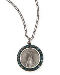 Katie Design Jewelry - Metallic Modern Mary Charm Necklace With Blue Diamonds - Lyst