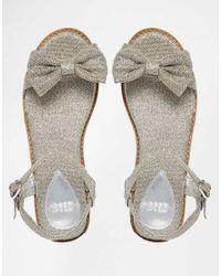 ASOS - Metallic Fun Days Two Part Bow Sandals - Lyst