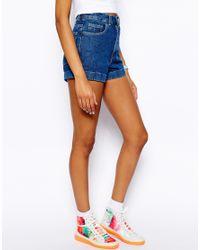 American Apparel - Blue High Waist Denim Shorts - Lyst