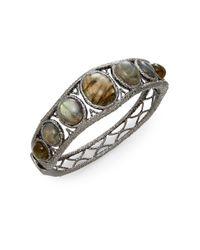 Alexis Bittar | Metallic Jardin Des Papillons Labradorite Hinged Bangle Bracelet | Lyst