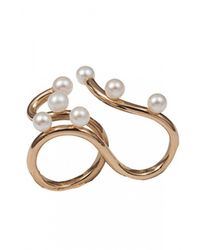 Bernard Delettrez | Metallic Two Finger Pearl Ring | Lyst