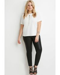 Forever 21 | Natural Textured Cuffed-sleeve Top | Lyst