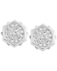 Swarovski   Metallic Bolt Crystal Stud Pierced Earrings   Lyst
