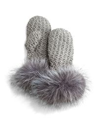 Surell | Gray Knit Mittens W/fox Fur Trim | Lyst